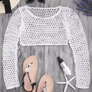 Crochet Cotton Long Sleeve Fishnet Crop Top